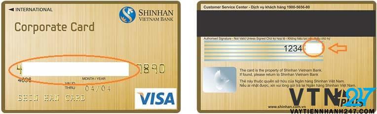 Ví dụ việc che mã số CVV của thẻ VISA